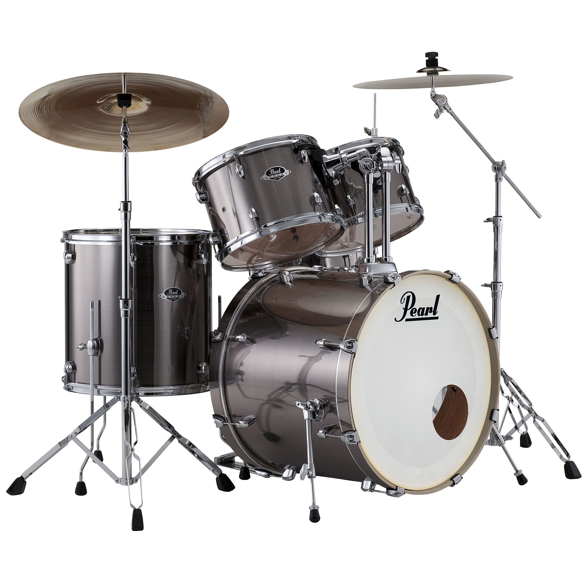 "Pearl Export 22"" Smokey Chrome Complete Drumset « Drum Kit"